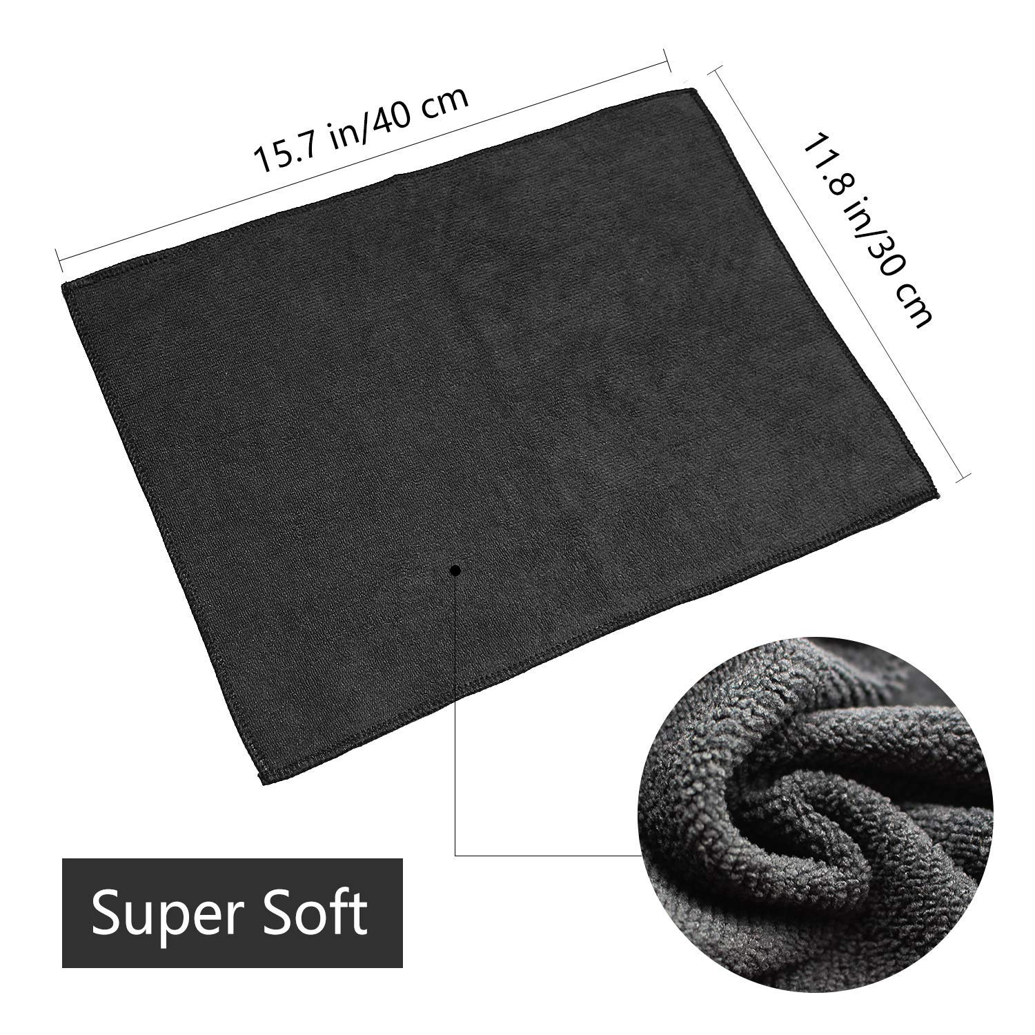 Microfibre Cleaning Cloths Lint Free Microfibre Towels Dish Cloths Car Cleaning Cloth for Polishing Washing and Dusting 10 Pack Black,30cm * 40cm