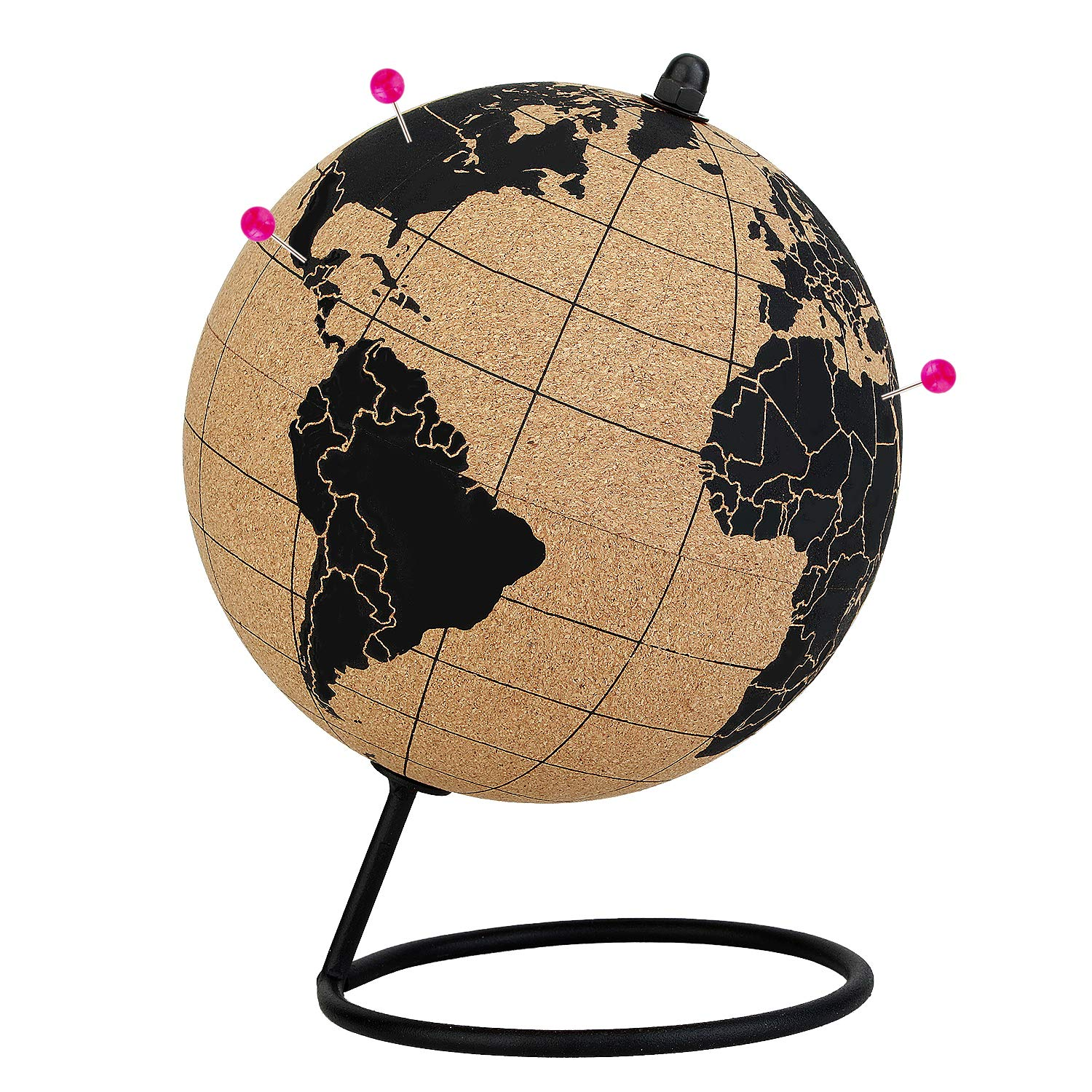 Cork Globe with Push Pins - 5.7 Inches Desktop World Globe - Educational World Map - Durable Metal Base - Easy Spin - Travel Accessory - Home Office Decor - Geographic Globes Discovery The World by win-wincoop
