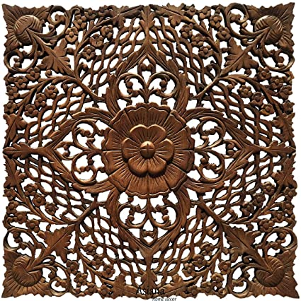 Amazon Com Asian Wall Art Home Decor Large Square Carved Wood Wall