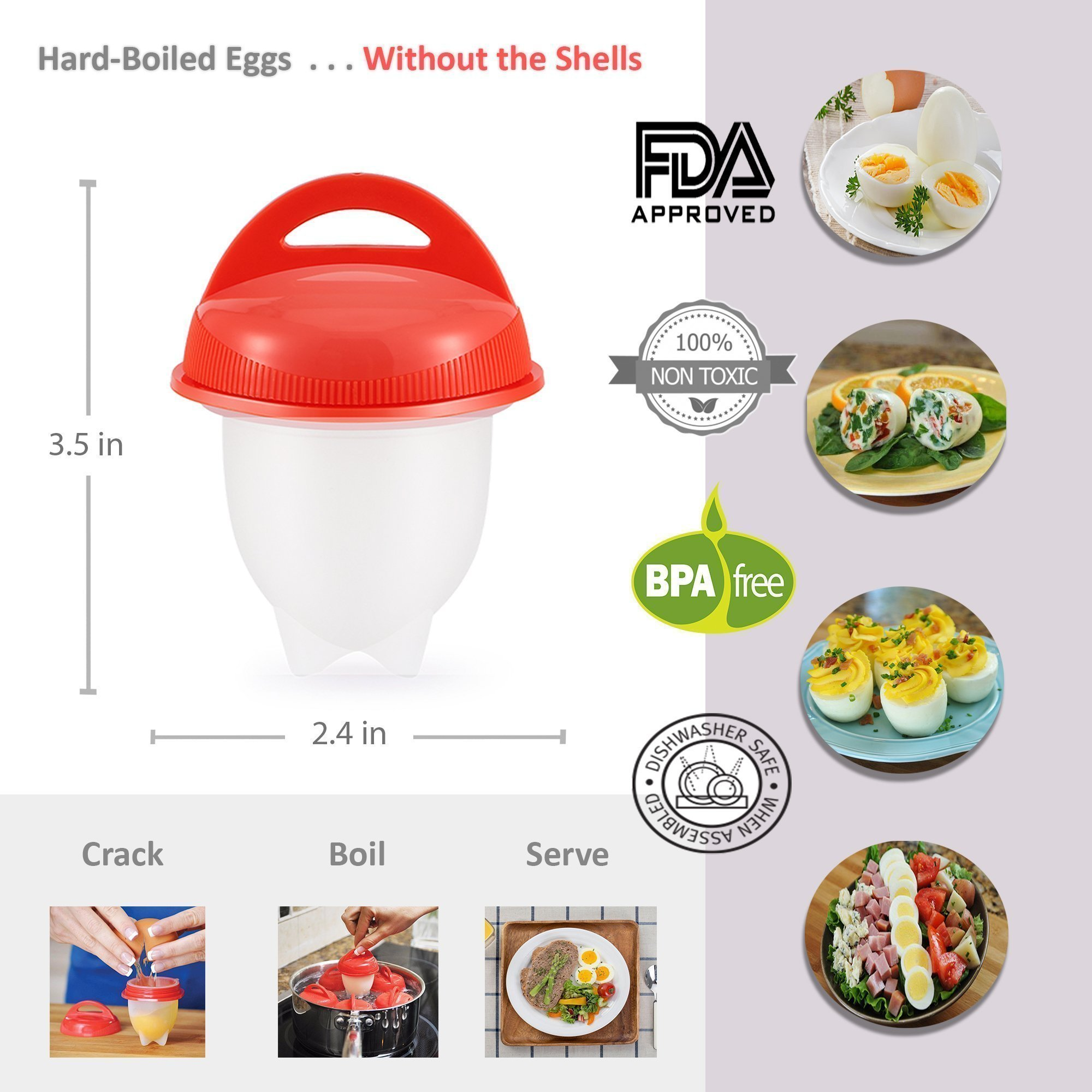 As Seen on TV Egg Cooker Set - 6 Pack, Non Stick Silicon Egg Boiler, Hard Boiled Eggs With No Shell | Includes 4 FREE Complimentary Items: 1 Egg Timer, 1 Egg Separator, 1 Egg Whisk and 1 Egg Slicer by KooZs (Image #2)