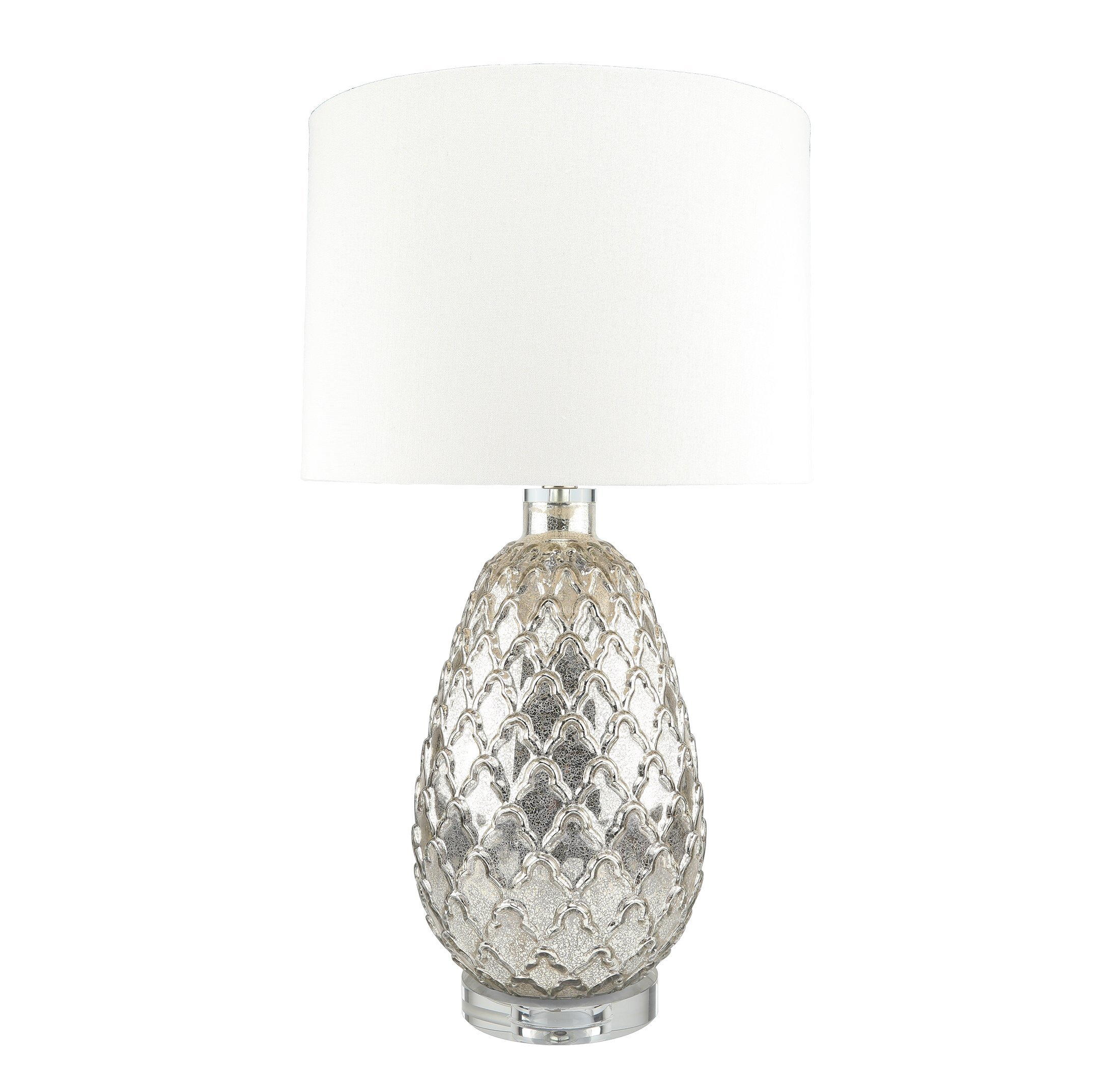 Robie Artisan Mercury Glass Lamp, Pineapple Texured Rustic Lamps for Bedrooms, Living Room - 28'' Height, Clear Crystal Base with White Linen Shade, Harp Construction
