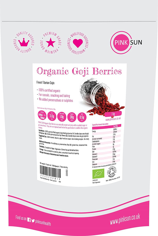 PINK SUN Bayas de Goji Organicas 1kg Crudas Mejor Tamaño Grande ...