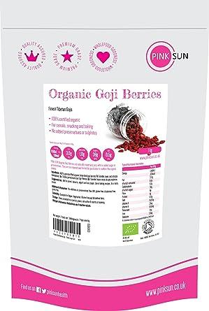 PINK SUN Bayas de Goji Organicas 1kg Crudas Mejor Tamaño Grande Tibetano Tibetan Raw Organic Goji Berries 1000g Bulk