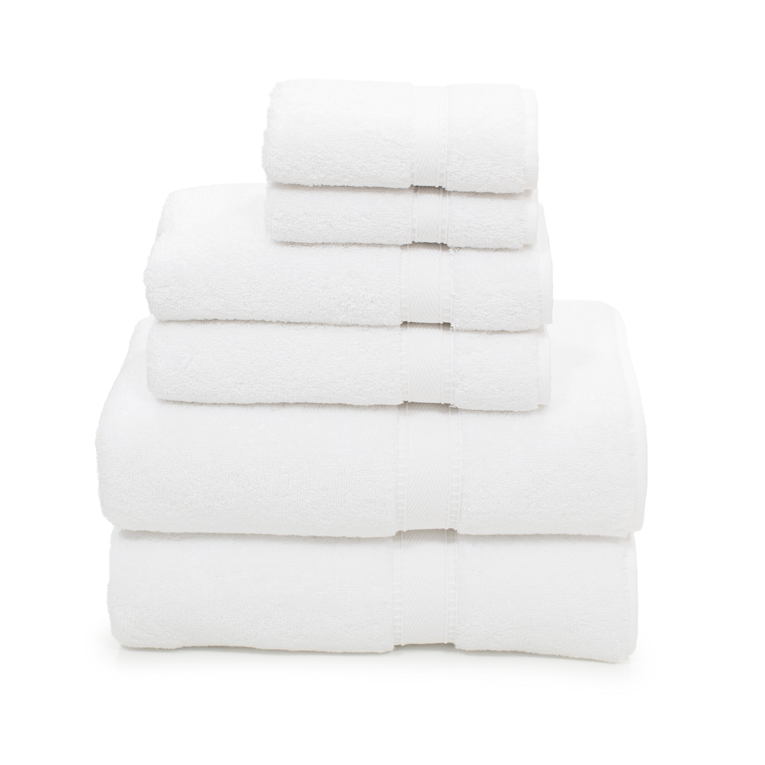 Linum Home Textiles 6 Piece 100% Turkish Cotton Sinemis Terry Bath Towel Set, White