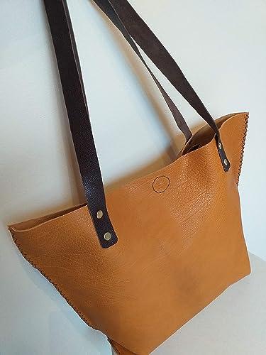 f7a5927b11 Sac cuir Cabas moutarde femme fabrication française unique: Amazon ...