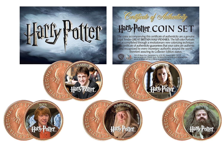 ハリーポッター* Heroes * Colorized UK British Halfpenny 5-coinセット* Licensed *   B01435BIHG