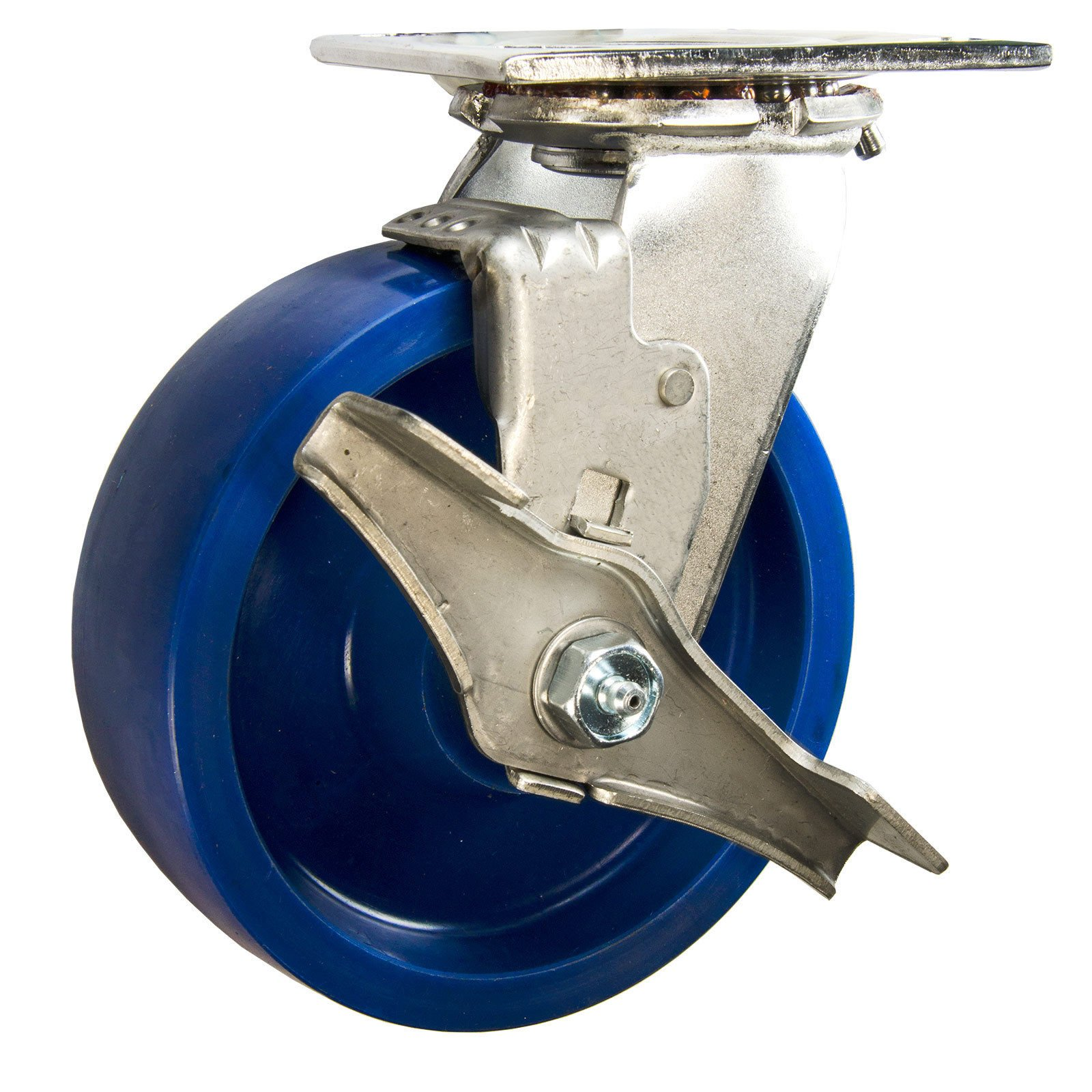 6'' Stainless Steel Swivel Caster Solid Poly Wheel with Brake - 1200 Lbs Cap Service Caster Brand