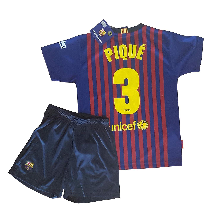 Conjunto Camiseta y Pantalon 1ª Equipación 2018-2019 FC. Barcelona - Réplica Oficial Licenciado - Dorsal 3 Pique - NiñoTalla 8 años - Medidas Pecho 39 ...