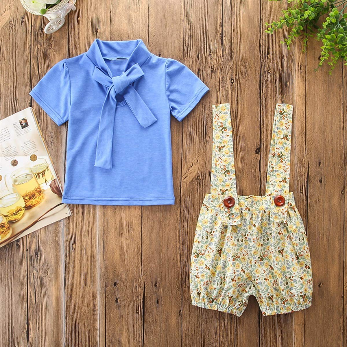 Floral Suspender Trousers Overalls Outfits Set puseky 2pcs//Set Kids Girls Clothes Bow Tie Shirt Tops