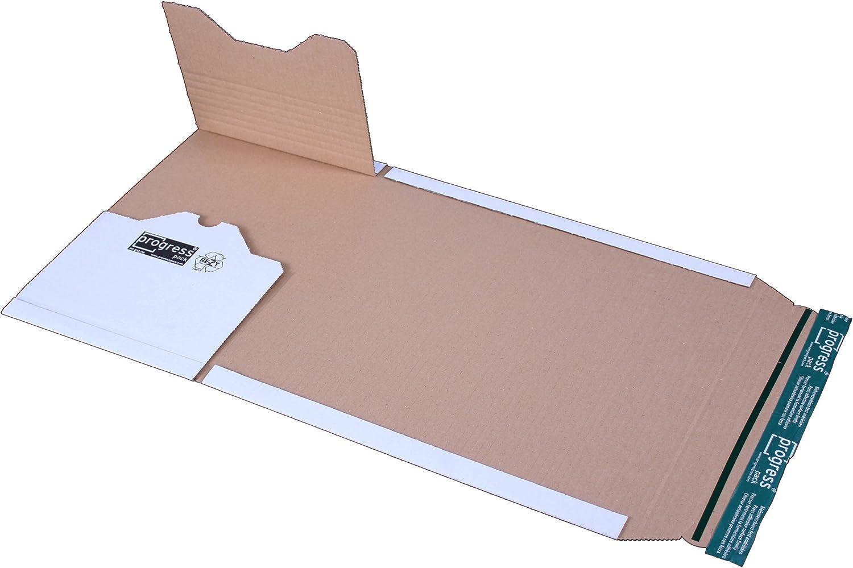 progressPACK Premium PP B12.08 Lot de 20 emballages dexp/édition universels en carton ondul/é Blanc Format A4 300 x 220 x jusque 80 mm