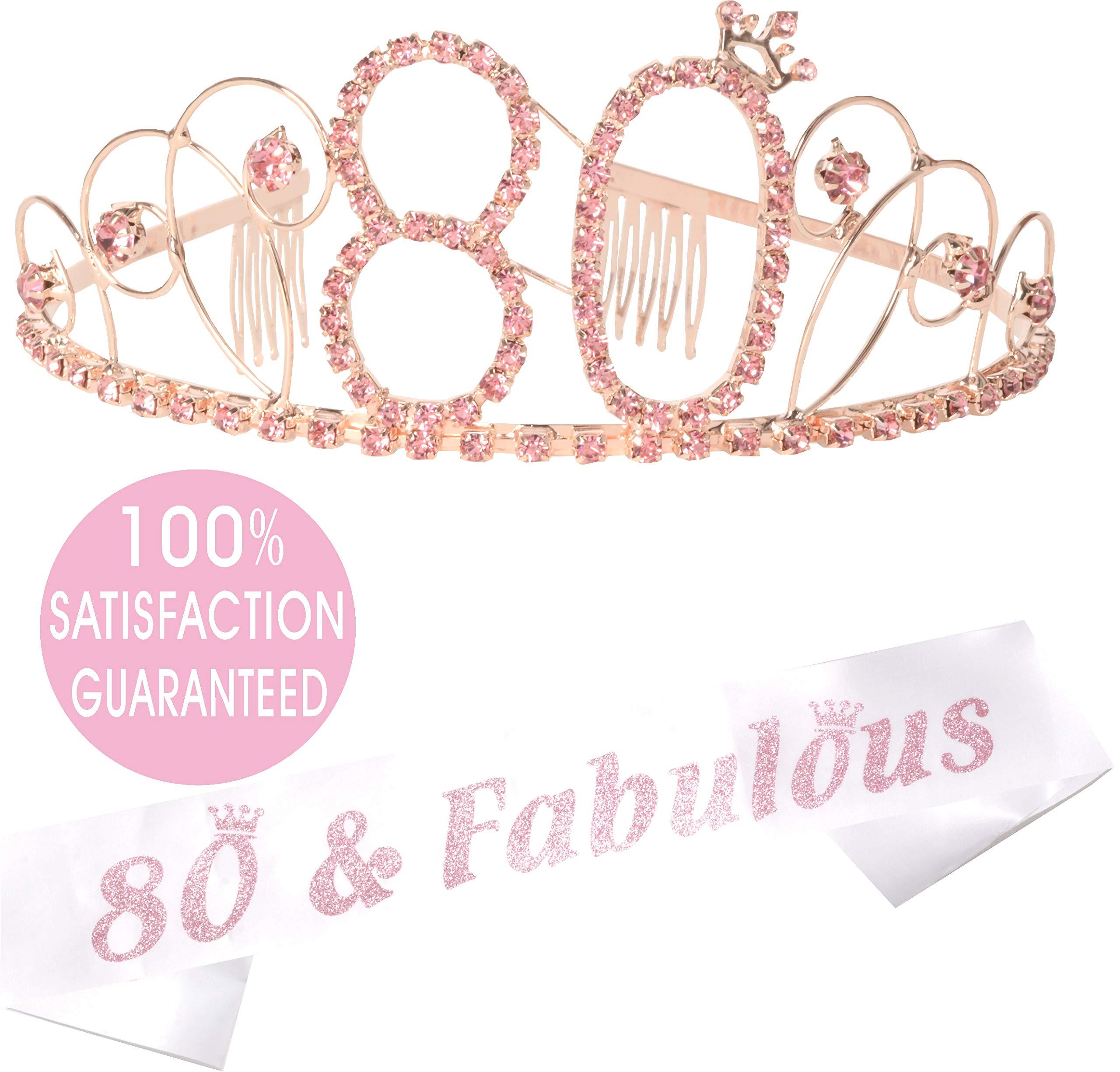 80th Birthday Gold Tiara and Sash, Happy 80th Birthday Party Supplies, 80th Black Gold Glitter Satin Sash and Crystal Tiara Birthday Gold Crown for 80th Birthday Party Supplies and Decorations (Pink)