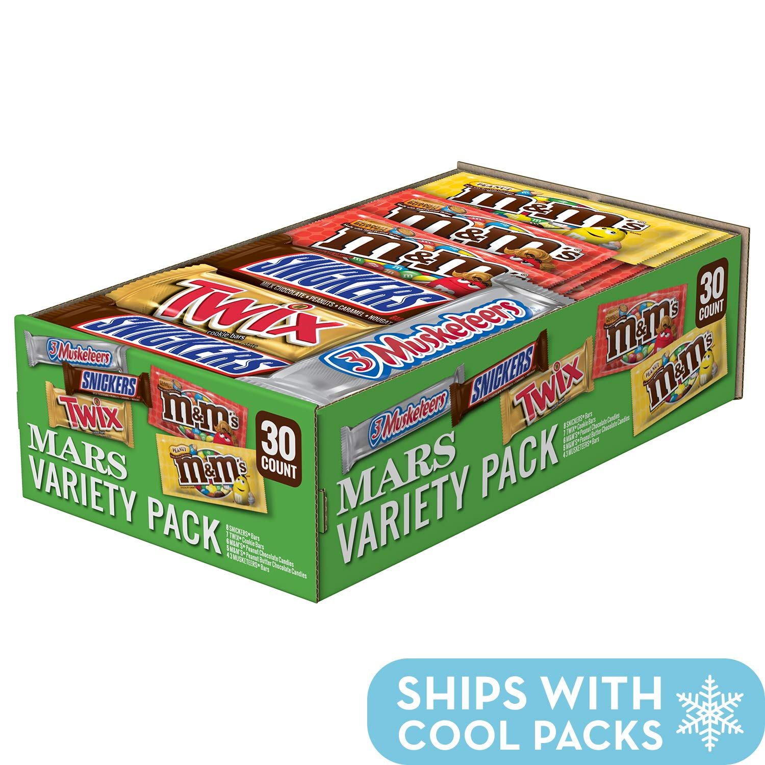 SNICKERS, M&M'S, 3 MUSKETEERS & TWIX Full Size Bars Variety Mix, 30-Count Box