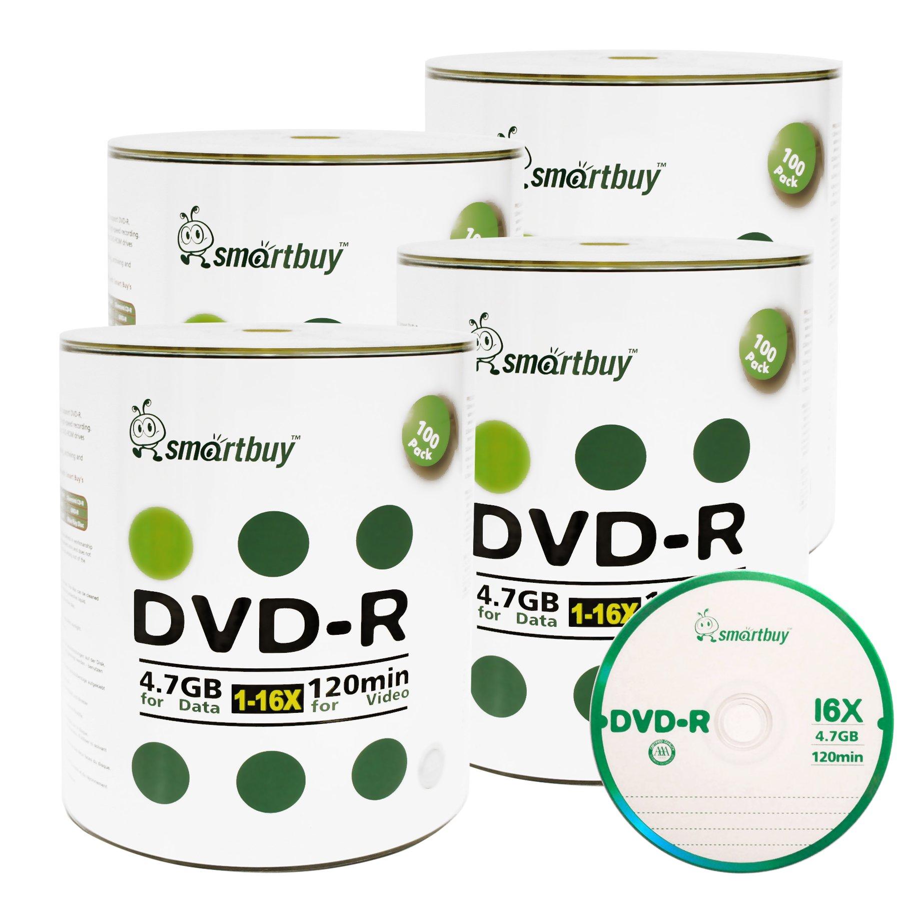 Smartbuy 4.7gb/120min 16x DVD-R Logo Top Blank Data Video Recordable Media Disc (400-Disc)