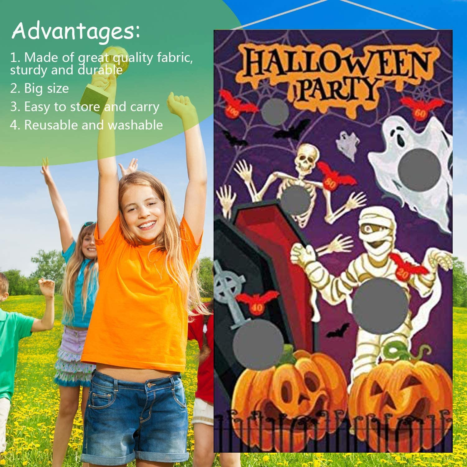AuLinx Halloween Themed Toss Game Banner Zombie Ghost with 6 Bean Bags,for Kids Party Halloween Decorations Indoor Outdoor Throwing Game