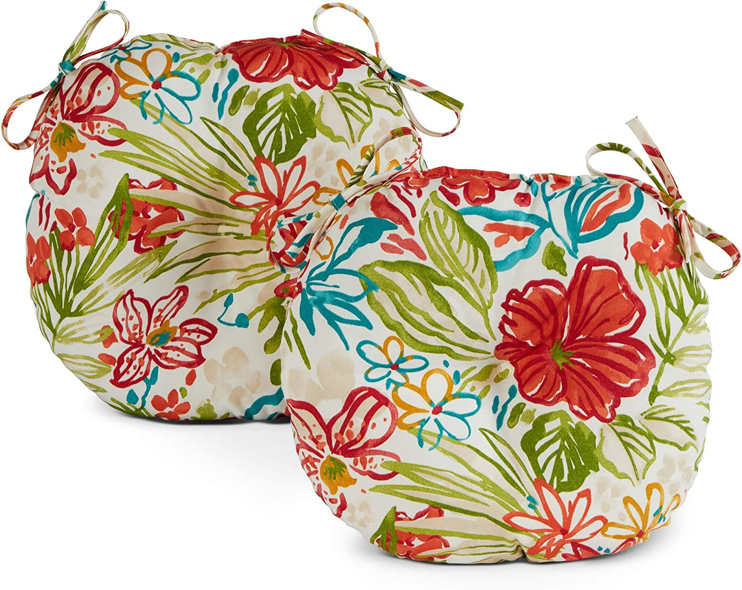 Greendale Home Fashions AZ5816S2-BREEZE Garden Floral Outdoor 15-inch Bistro Seat Cushion (Set of 2)