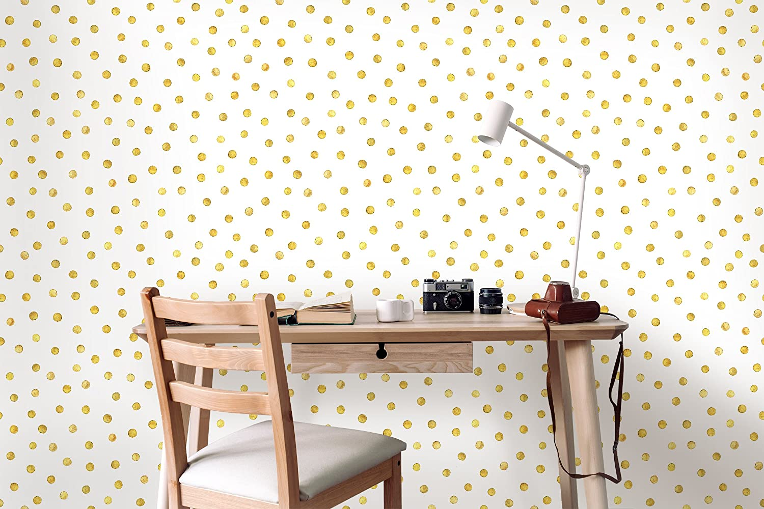 Amazon com self adhesive removable wallpaper gold dots wall decor handmade
