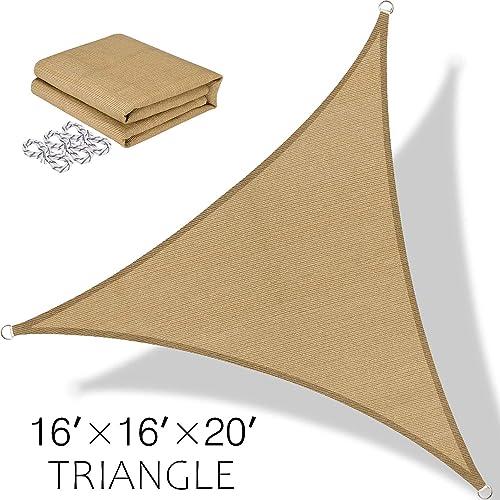 BOLTLINK Triangle Sun Shade Sail 16 x 16 x 20 Canopy UV Block for Patios Outdoor Backyard Garden Deck -Sand