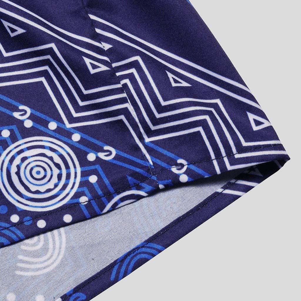 SKYLULU✿MensRetro Shirt Tops Printed Hawaiian Breathable Casual Short Sleeve Loose Shirts