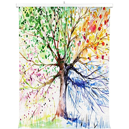 HommomH Print Canvas Wall Decoration Poster 31×48 inch With Hanging ShaftColorful Art Tree Life