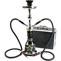 "GSTAR Convertible Series: 18"" 1 or 2 Hose Hookah Complete Set w/ Case - Majestic Glass Vase - (Tuscany Black)"