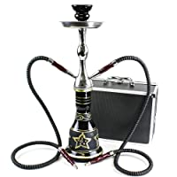 """GSTAR Convertible Series: 18"""" 1 or 2 Hose Hookah Complete Set w/ Case - Majestic Glass Vase - (Tuscany Black)"""