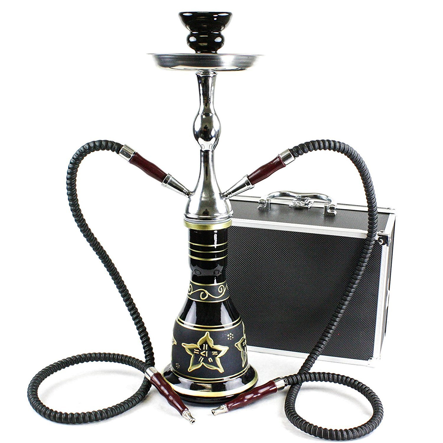 GSTAR Convertible Series: 18'' 1 or 2 Hose Hookah Complete Set w/ Case - Majestic Glass Vase - (Tuscany Black)