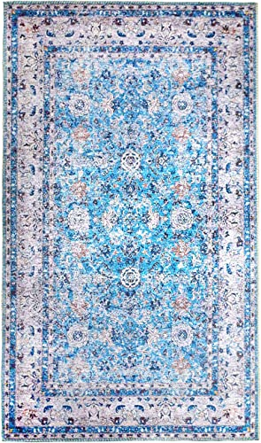 Amida Distressed Persian Rug Vintage Navy Bohemian Area Rug 3'x5' Dark Blue Area Rug