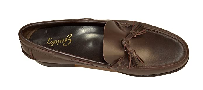 Guido - Mocasines de Cuero para Hombre Marrón Marrón Oscuro: Amazon.es: Zapatos y complementos