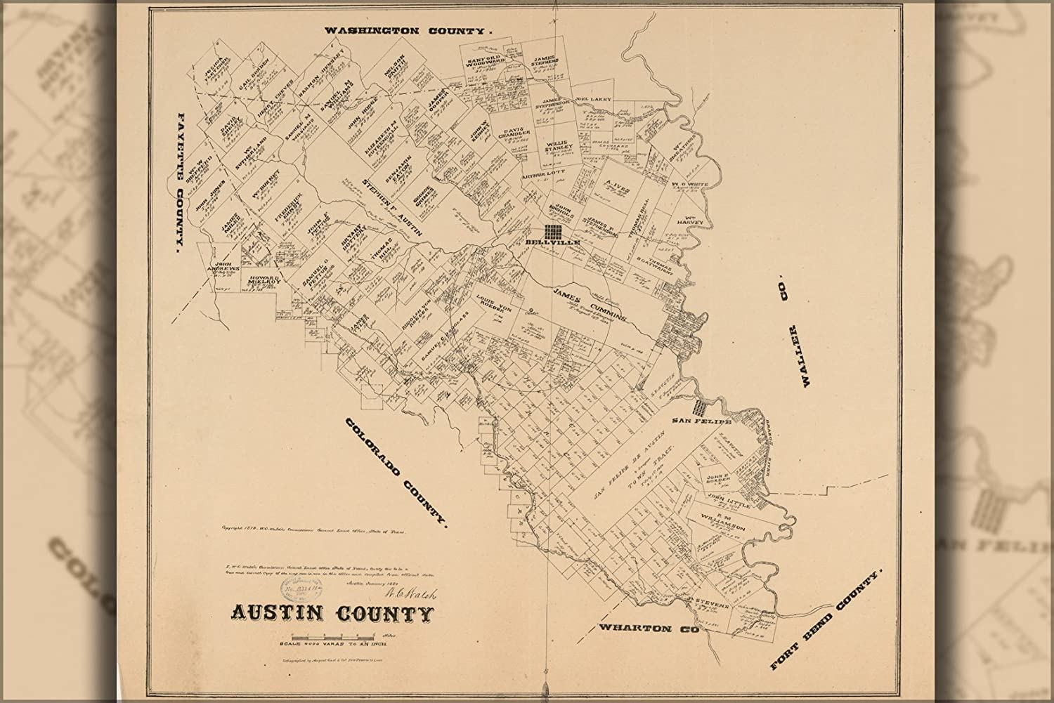 Map Of Texas 1880.Amazon Com 42x63 Poster Map Of Austin County Texas 1880