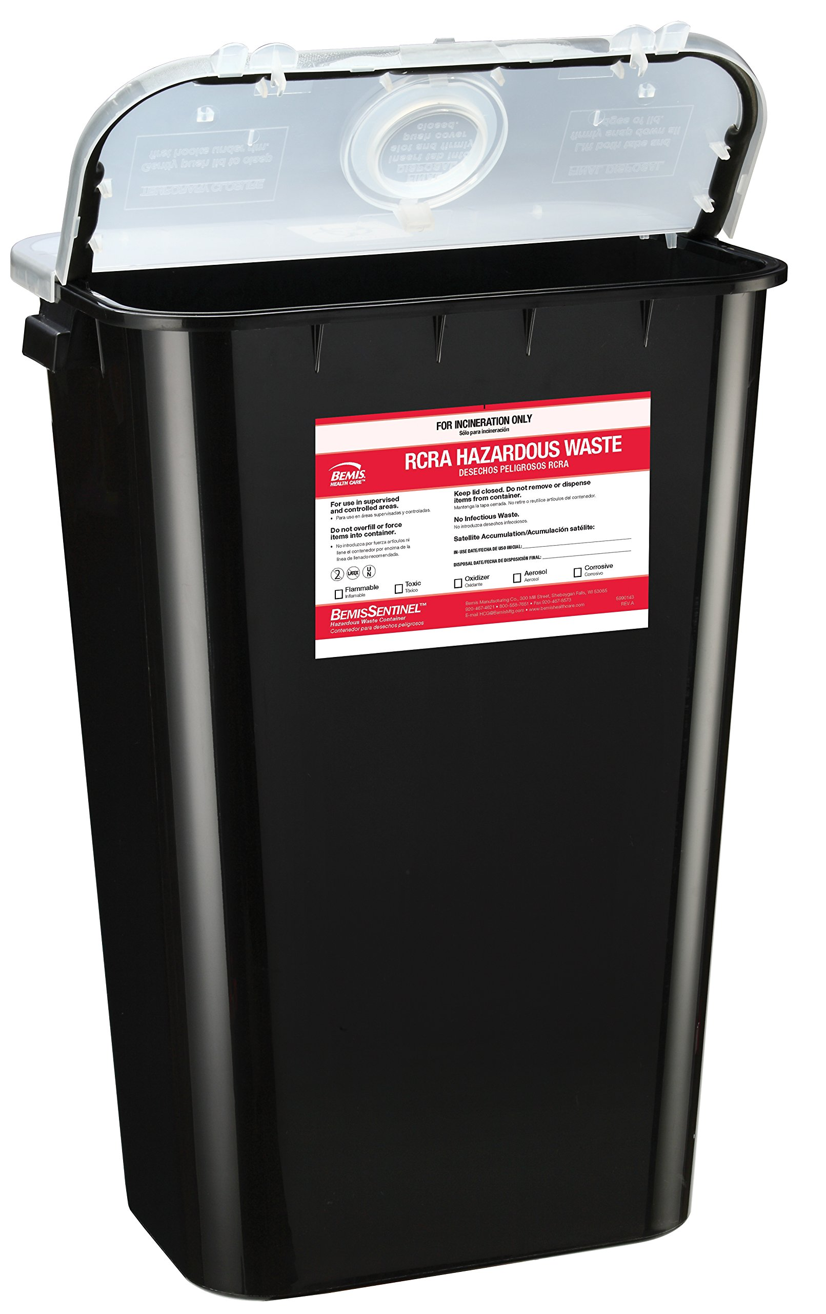 Bemis Healthcare 5011070-6 11 gal RCRA Hazardous Chemical Waste Container, Black (Pack of 6)
