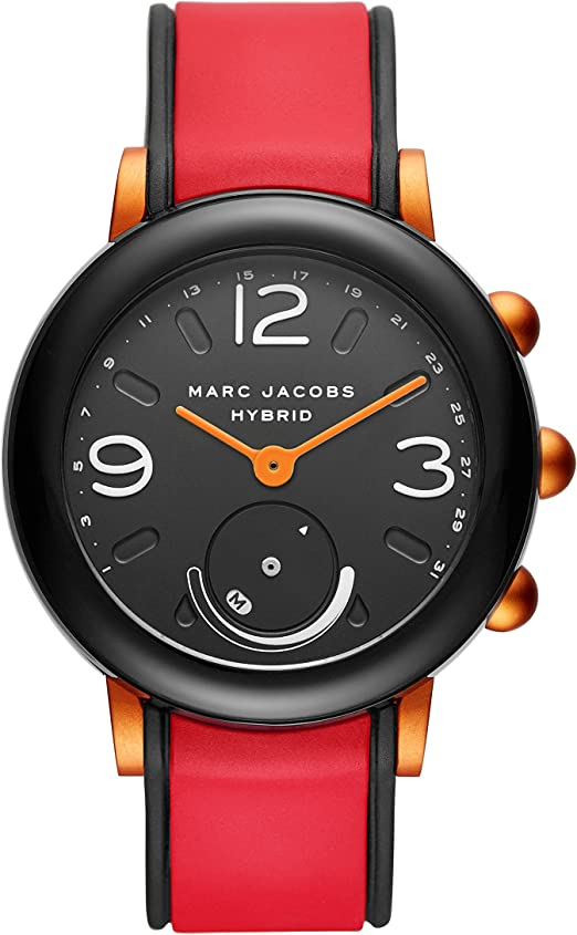 Marc Jacobs Women S Riley Nylon And Silicone Hybrid Smartwatch Color Black Red Model Mjt1008 Watches