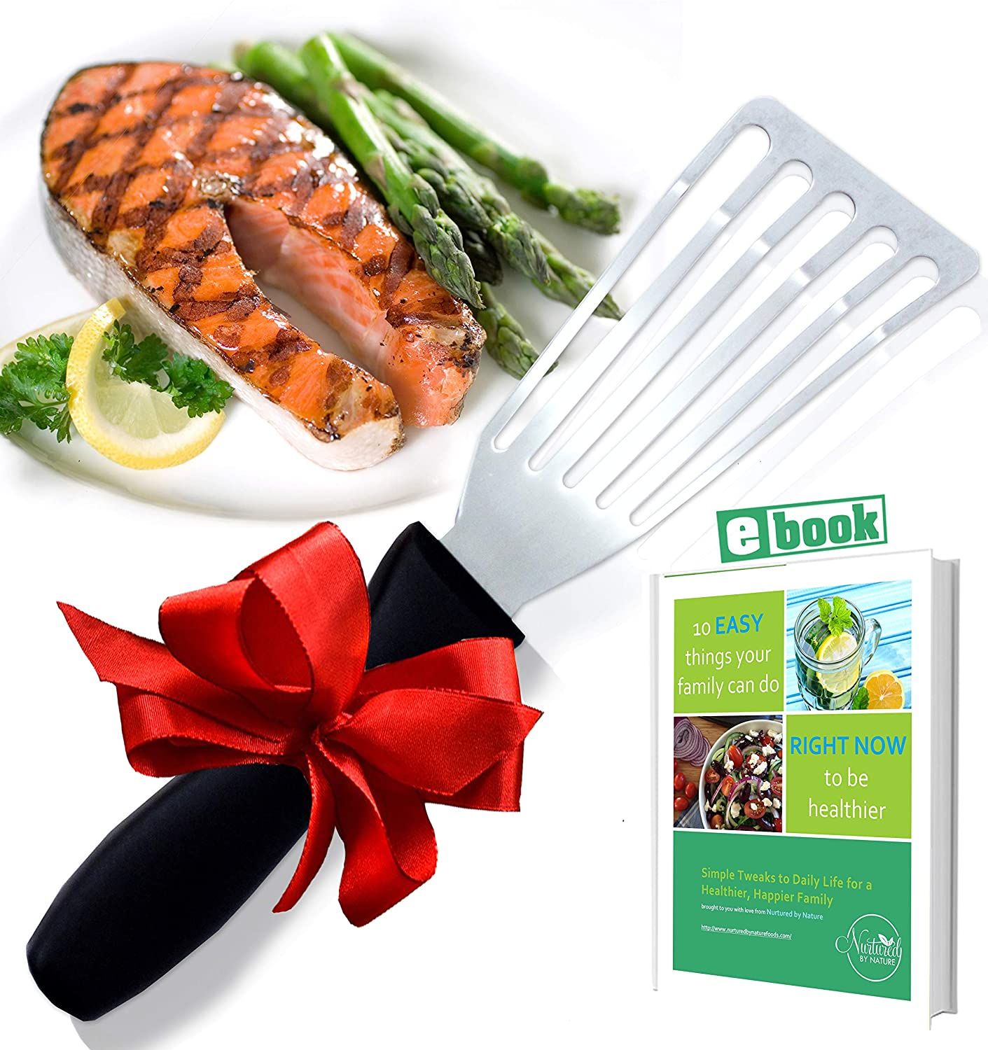 Stainless Steel Fish Spatula, Professional Slotted and Angled Turner, Kitchen Tool, Brilliant Seafood and Baking Cooking Utensil, with 6.5 Inch Blade, Comfortable Ergonomic Handle Lifestyle Dynamics COMINHKPR147766