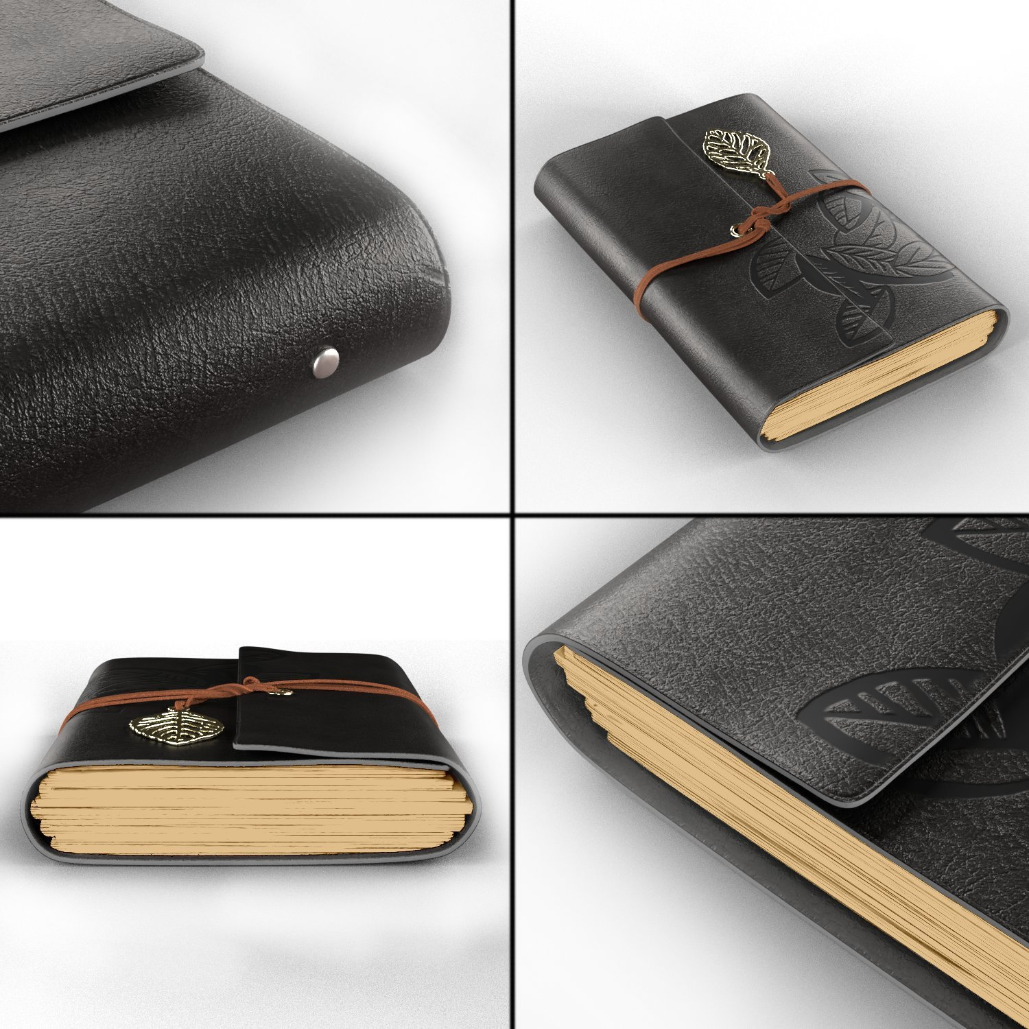 Leather Journal Writing Notebook - Leather Bound Daily Notepad for Men & Women Unlined Paper Medium 7 x 5 inches, Best Gift for Art Sketchbook, Travel Diary & Notebooks to Write in by Foster Gadgets (Image #3)