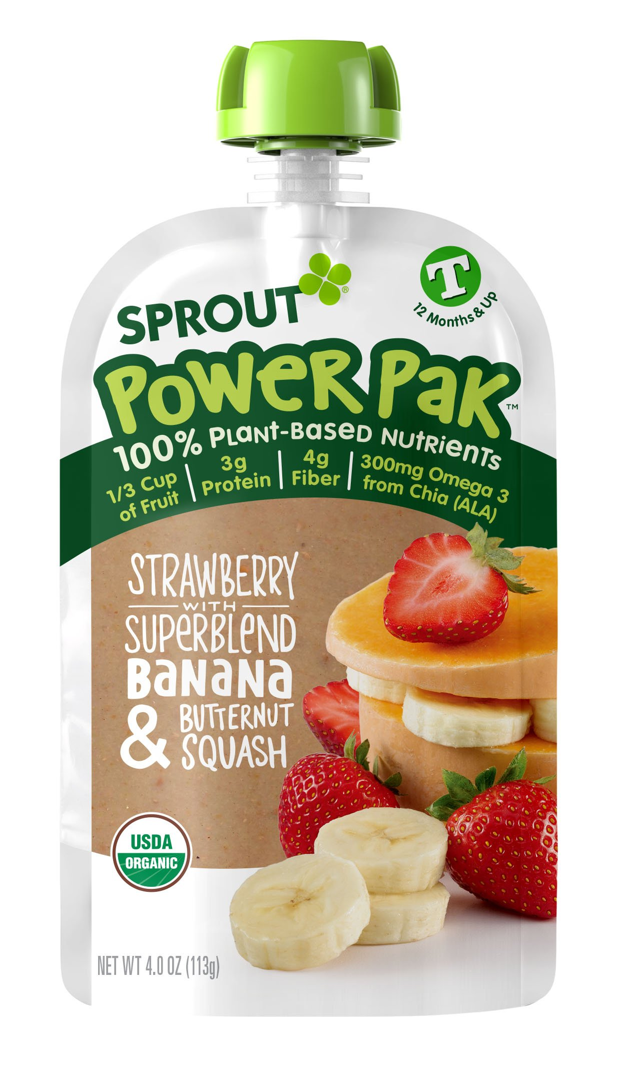 Sprout Organic Baby Food Pouches Sprout Organic Power Pak Toddler Food Pouch, Strawberry with Superblend Banana & Butternut Squash, 4 Ounce(Pack of 12); USDA Organic, 3 Grams of Protein,Plant Powered