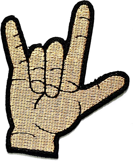 V Sign Patch Iron Sew On Two Fingers Peace Symbol Hand Gesture Embroidered Badge