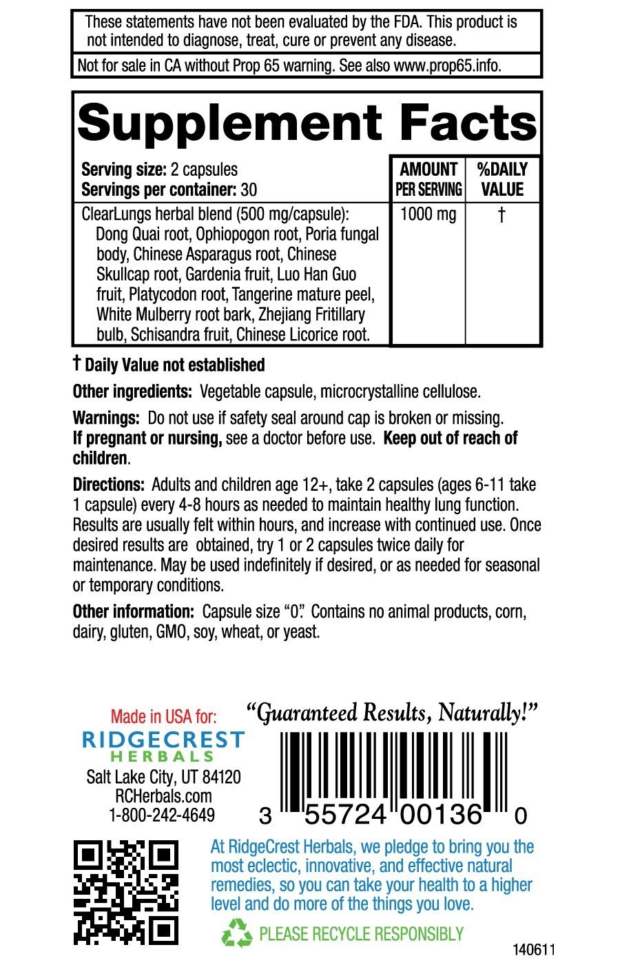 RidgeCrest Clearlungs (Red), Chinese Herbal Formula, 60 Vegetarian Capsules