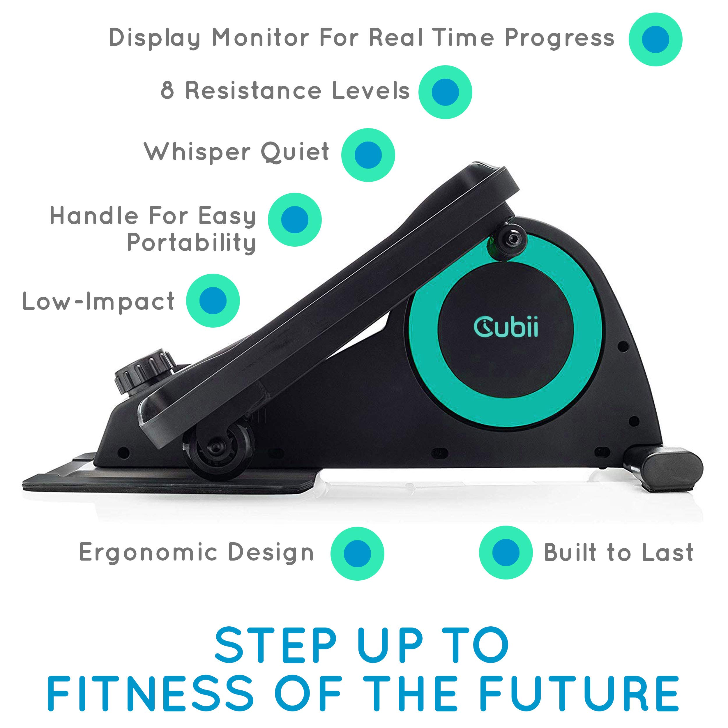 Cubii Jr: Desk Elliptical with Built in Display Monitor, Easy Assembly, Quiet & Compact, Adjustable Resistance (Turquoise) by Cubii (Image #2)
