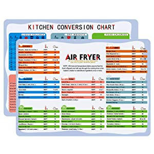 """YONGFENG Air Fryer Cooking Times/Kitchen Conversion Chart Fridge Magnets (8""""x11"""") Cooking Measuring Baking Hot Air Frying Cook Time Chart Recipes Cookbook Reference Cheat Sheet Accessories Big Fonts"""