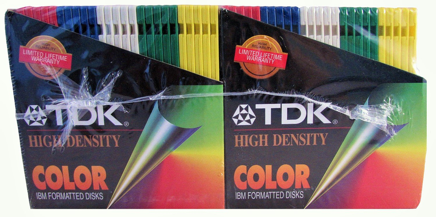 TDK High Density Color IBM Formatted Disks, 50 Disk
