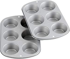 Wilton Recipe Right Non-Stick 6-Cup Standard Muffin Pan, Set of 2, Silver