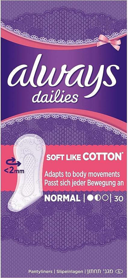Always Dailies protege slip normal tacto de algodón 30 unidades – – lote de 3.: Amazon.es: Salud y cuidado personal