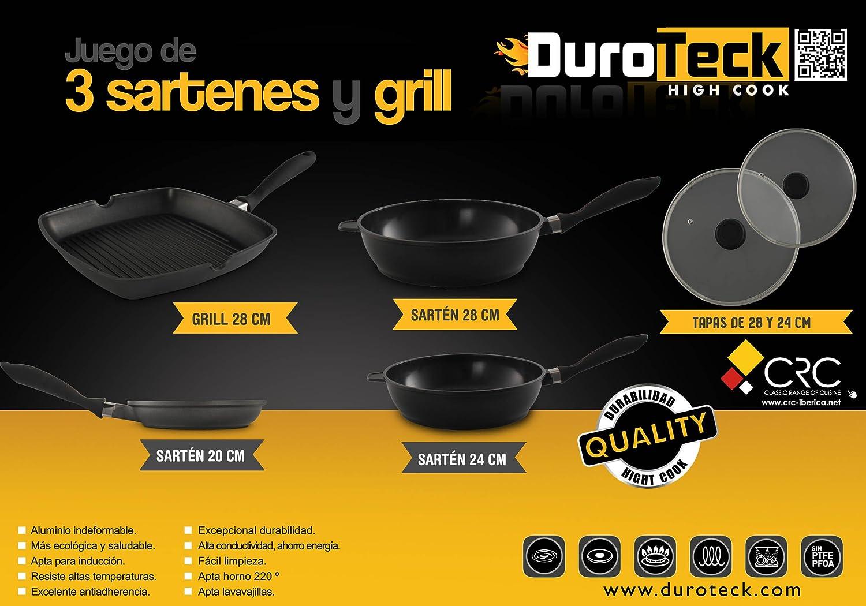 FranquiHOgar Juego de 3 sartenes y un Grill Duroteck - Aluminio Fundido + Juego de Herramientas de Cocina de Regalo: Amazon.es: Hogar