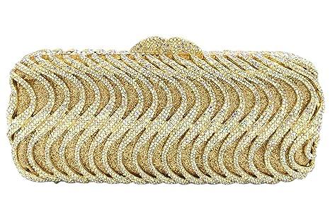 Diamantes Bolso Mujer Noche Bolsas Fiesta Boda Carteras Brillo Cadena Embrague Dorado