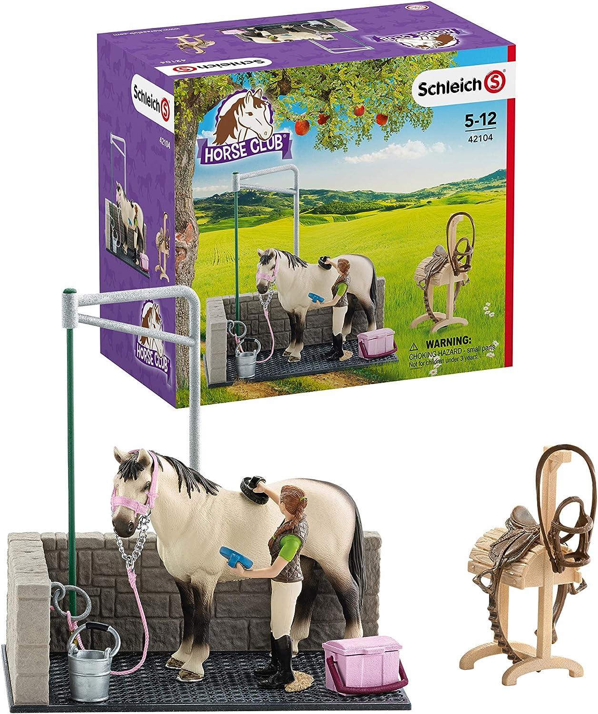 Schleich- Colección Horse Club Figuras de Lavadero de Caballos, Accesorios y Funciones, Multicolor (42104)