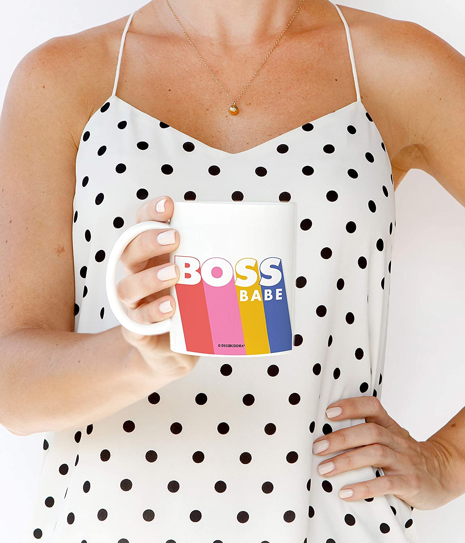 Boss Babe Mug Rainbow Graphic Inspirational Cute Awesome Badass Girl Power Woman Empowerment Women Gift Bossy CEO Business Female Birthday Trendy Novelty Retro Vintage Design 11 oz Ceramic Coffee Cup