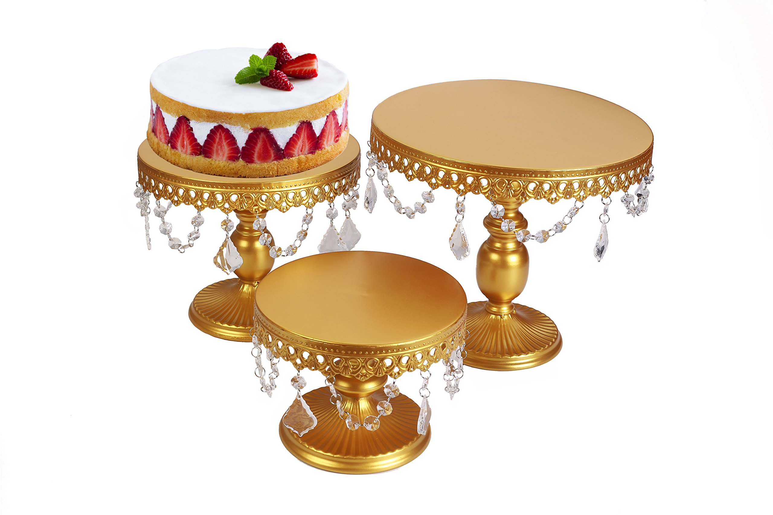 VILAVITA 3-Set Antique Cake Stand Round Cupcake Stands Metal Dessert Display with Pendants and Beads, Gold by VILAVITA (Image #4)
