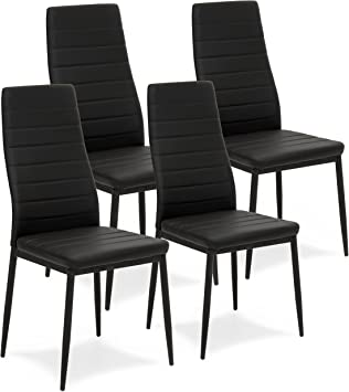 2x Dining Chairs High Back Faux Leather Upholstered Dining Room Restaurant Chair