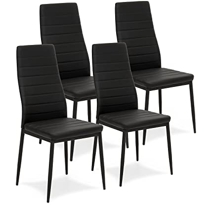 Bon Best Choice Products Set Of 4 Modern High Back Faux Leather Dining Chairs    Black