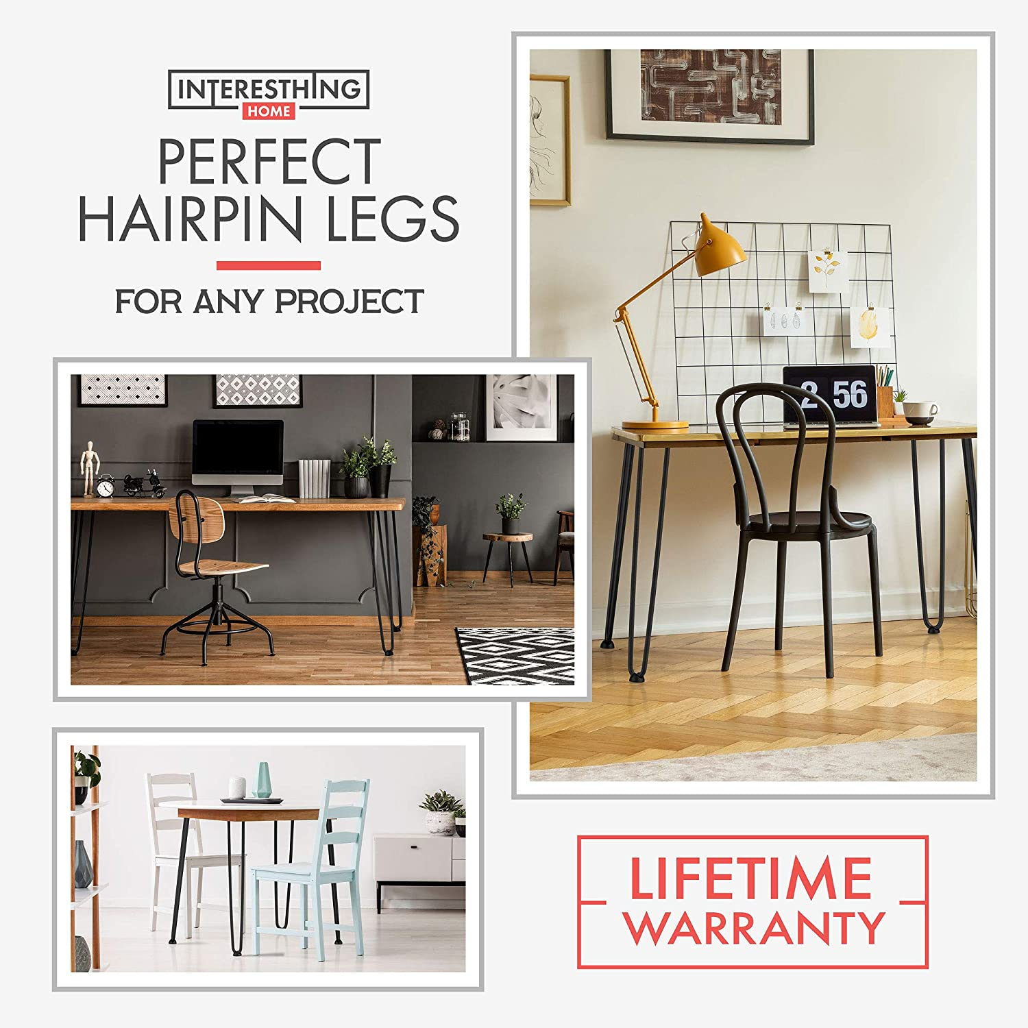 Carpete Skateboard Table Legs with Floor Protectors Scerws 16 Inch Hairpin Coffee Table Legs of Shoe Rack Stool Side Table Set of 2 Metal Furniture Legs for Home DIY-White