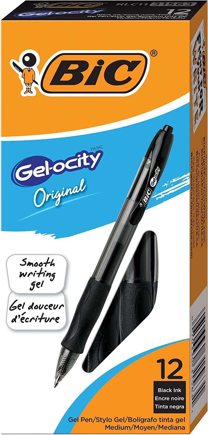 Assorted Colors Pack of 4 BIC Gelocity Retractable Gel Pen 0.7 mm Medium Tip
